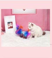 Sevimli Komik Oyuncaklar Streç Peluş Topu Kediler Topları Tüy Renkli İnteraktif Pet Evcil Hayvanlar için Çiğnemek Oyuncak HWD5941