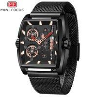 MINIFOCUS Tourbillon Mens Quartz Watches Mesh Belt Watch Hollow Out Luminous Wristwatches