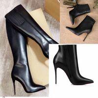 2021 ثانية الشتاء أنيقة المرأة الأحمر أسفل الأحذية السوداء الجلود السوداء الأحذية الطويلة الإلوي - botta-bottes الركبة التمهيد عالية الكعب سيدة القتالية الجوارب حزب، فستان الزفاف أحذية امرأة