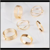 Drop Delivery 2021 6Pcs Set Gold Sier Color Combine Joint Band Ring Toes Rings Set For Women Fashion Jewelry Lz925 Hvbyu