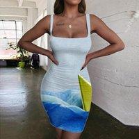 Повседневные платья Kyku Waves платье Женщины Граффити Санктра Sundress Sail Halter Womens Womens Одежда Vintage Beach Высокое качество