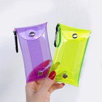 Fluoreszierende farbe transparent pvc schlüsselwaffe case kette ring beutel auto schlüsselanhänger hauswächter frauen münzbeutel mini lippenstick tasche