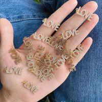 Encantos 5 unids / lote joyería al por mayor Amore suministra suministros de zircón de metal para la pulsera que hace bricolaje