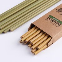 Custom 100% Organic Bamboo Straw Reusable BPA Free Biodegradable Drinking Straws For Milkshake Jumbo Smoothies, Cocktails 10pcs per Lot