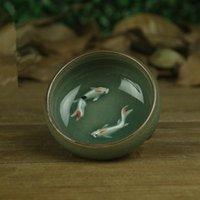Cups & Saucers 65ml Chinese Longquan Celadon Porcelain China Teacup And Saucer Tea Bowl With Golden Fish Celadon Crackle