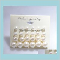 Earings For Woman Fashion White Pearl Piercing Stud Earrings Women Lady Jewelry 6Mm8Mm10Mm12Mm Mix Size 1 Card 12 Pairs Pearls Drop De