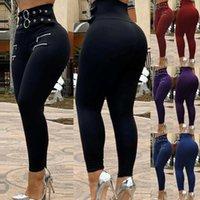 Pantalones para mujer Capris Flyny Women Summer Fashion Plus Tamaño Cinturón de cinturón de cinturón de cinturón y ojal Protights Streetwear Lugentolo