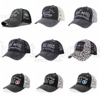 Criss Cross Ponytail Hats Woman Hot Mess Just Doing My Best Embroidered Washed Mesh Baseball Caps Leopard Messy Bun Trucker Hat CYZ3139