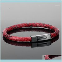 Charm Jewelrybracelet Mens Bracelets For Men Real Python Skin Leather With 360L Titanium Steel Buckle Luxury Bracelet1 Drop Delivery 2021 En