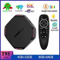 T95 Plus Android 11.0 TV Smart TV Box 8G 64G RK3566 رباعية النواة 2.4 جرام 5 جرام المزدوج باند واي فاي بلوتوث 4.0 ميديا لاعب أندرويد 11 STB 4GB 32 جيجابايت مع G10S Pro الخلفية المراقب الخلفية