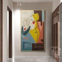 抽象レディーライン描画画像家の装飾現代美術フィギュアボディフェイスキャンバスポスタープリント壁画リビングルーム