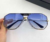 Efsaneler 905 Güneş Gözlüğü Altın Siyah / Mavi Degrade Erkekler Klasik Güneş Gözlükleri Kutusu