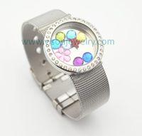 Edelstahl-Mesh-Gürtel-Armband mit schwimmenden Medaillon, Twist Open Medaillon Armband