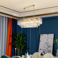 60cm 80cm 100cm 120cm 150cm modern rectangle gold crystal chandelier light for dining room restaurant hotel decoration