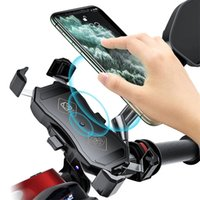 4.7-7 inch Phone Holder Motorcycle QC3.0 Wireless Charger Handlebar Bicycle Bracket 2 in 1 Quick Charge USB Charing GPS Mount Holders