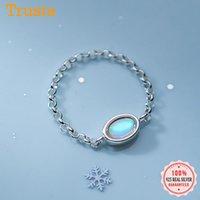 Cluster Rings Trustdavis Real 925 Sterling Silber Mode Ellipse farbige Glasurkette Größe 7.5 für Frauen Party Fine S925 Schmuck DA2021