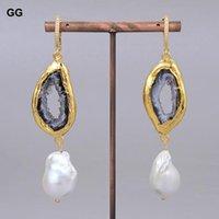 Hoop & Huggie GuaiGuai Jewelry Natural Freshwater Cultured White Keshi Pearl Gold Plated Quartz Agates CZ Hook Earrings Vintage For Women