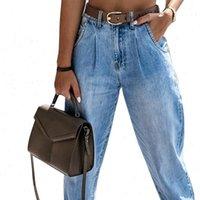 Fashion High Waist Light Wash Women Jean Zipper Fly Full Length Pants Pockets Casual Straight Denim Trousers
