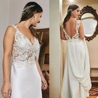 Summer A-Line Wedding Dresses Lace Appliqued Pearls Bridal Gowns V Neck Backless Outdoor Country Beach Boho Marriage