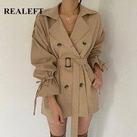 REALEFT 2020 New Autumn Winter Khaki Minimalist Women's Trench Coat Sashes Windbreaker Loose Flare Sleeve Double Breasted Trench W2B9#