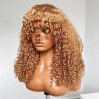 Lace Wigs Kinky Curly Honey Blonde Human Hair For Women 360 Frontal Wig With Bangs Brazilian Remy 13X6 Front 200% Ginger