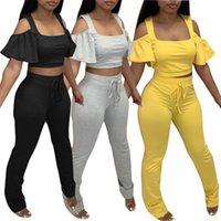 Women Two Piece Pants summer clothes solid color scoop neck off shoulder short sleeve t-shirt shorts sweatsuit tee top capris sports sets vest leggings bodysuit 01445