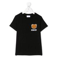 Çocuklar Moda T-Shirt Lüks Tasarımcı T Gömlek Tops Tees 2021 Erkek Kız Karikatür Ayı Işlemeli Mektubu 100% Pamuk Kısa Kollu Kazak Çocuk Giysileri