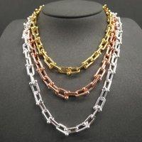 Kadınlar Için Gümüş Kolye Hardwear Serisi Zincir Bağlantı Charm Küçük U Türü Kolye Tif Takı Zincirleri