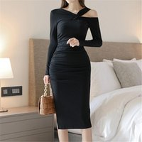 Casual Dresses Korean Style Black Sexy Long Sleeve Mid-Calf Dress Women High Quality Solid Slim Bodycon Ladies Club Party 2021