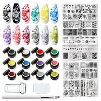 Nail Gel MEET ACROSS 14 15 26PCS Stamping Polish Set Flower Stripe Design Stamp Plates Kit Printing Varnish Art Pattern Stencil