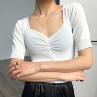 T-shirt das mulheres 2021 Primavera Verão Tees de Silk de gelo das mulheres Mulheres Vintage V Neck Soff Slow Slow Crop Tops Lady Cor Sólida Elegante Básico Tshirts