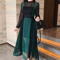 Casual Dresses YiLin Kay 2021 High-end Custom Self Portrait Women Spring Runway Long Dress Lace Patchwork Hollow-out
