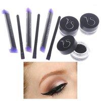 Подводка для глаз 1 коричневый + черный гель + штамп водонепроницаемый смотростойкий косметический набор для глаз в макияже