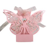 Gift Wrap 100PCS Packs Pink Laser Hollow Chocolate Wedding Candy Box Reflective Gold Butterfly Packaging Carton