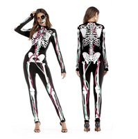 2018 New Halloween Cosplay Suits for Women Human Skeleton Pattern Costumes Halloween Party Skintight Printed Long Sleeve Bodysuit