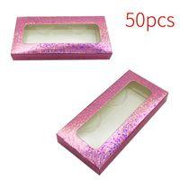 False Eyelashes 50pcs Organizer Lashes Paperboard Rectangle With Window Accessories Home Empty Case Eyelash Packaging Box Storage Shop