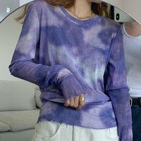 Женская футболка Alien Kitty 2021 весенние женские галстуки краситель арт топы с длинным рукавом рубашки леди повседневная шикарный свободный о-шеи футболка минималистский