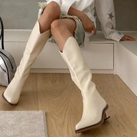 Boots Ins 2021 High Mid-Calf Heels Women Winter Shoes Western Cowboy Long Female Pointed Toe Leather