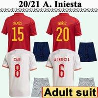 2021 Pedri Hommes Football Soccerys costume Koke Morata F. Torres Alba Sarabia Adama Accueil Rouge Élevé Blanc Chemises de football blanc Uniformes à manches courtes