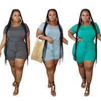 Artı Boyutu Yaz Kadın Spor Tulum Kısa Kollu O-Boyun Playsuits Kısa Tulum Romper Tulum Katı Renk Kıyafetleri Giyim1