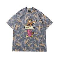 Sokak Hip Hop Yüksek Justin Bieber Aynı Karikatür Fox Gülen Yüz Bunny Baskı Erkek Ve Kadın Kısa Kollu T-Shirt