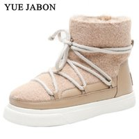 Boots 2021 Fashion Women Winter Snow Suede Fur Genuine Leather Female Waterproof Lace Up Shoes Casual