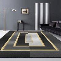 Carpets Living Room Carpet Luxury Modern Gray Green Black Geometric Rug For Bedroom Sofa Coffee Table Floor Kitchen Mat House Decoration