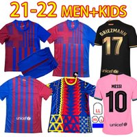 21/22 Barca Ansu Fati Soccer Jerseys Training 2021 ميسي Grizmann F.de Jong Coutiniho Alba Braithwaite الكبار + Kids Kits Football Jersey