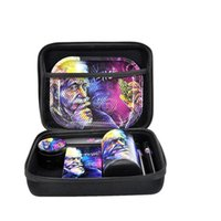 2021 8 in 1 Smoking Accessories Kit Dry Herb Grinder Storage Bag Tobacco Stash Box Roller Metal Rolling Tray Cigarette Tank Case