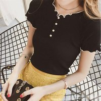 Women's T-Shirt Woman TShirts Beaded Short Sleeve Round Neck Slim-Fit Knitted Top Crop Mujer Camisetas