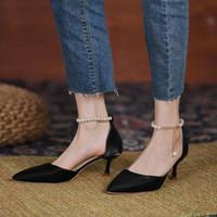 Sandals 2021 Ankle Pearl Strap Strappy Design Fashion High Heels Women Baotou Sexy Dress Wedding Bridal Heel