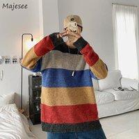 Мужские пуловеры из пуловечных пуловечных полосатых свитеров Высокая улица Ретро вязаные топы повседневные свободные мужчины Harajuku окрашенные пара осень