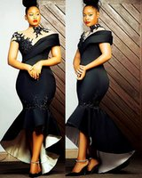 2021 Plus Size Arabic Aso Ebi Black Mermaid Sexy Prom Dresses Lace Beaded High Neck Evening Formal Party Second Reception Bridesmaid Gowns Dress ZJ223