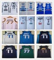 Dikişli Erkekler Doncic 77 Luka Formalar Basketbol 2021 Olimpiyatlar Slovenya Takım Mavi Beyaz Şehir Donanması Kazanılan Yeşil Siyah Altın 7 Kolej Spor Gömlek